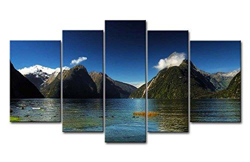 5Stück Wand Kunst Bild Milford sound Neuseeland Blue Water Lake Mountain Bilder Prints auf Leinwand Landschaft der Decor Öl für Home Moderne Dekoration Print für Möbel