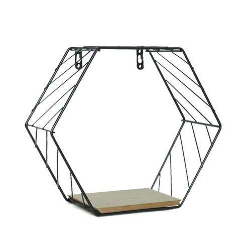 Ljourney esagono geometrico griglia con montaggio a parete, scaffale pensile metallo ferro pianta in vaso libri rack floating storage cancelleria home wall diy decor, nero, small