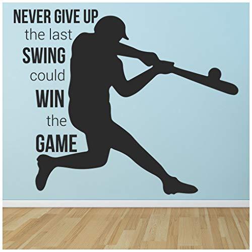 azutura Gib nie auf Wandtattoo Baseball-Zitat Wand Sticker Kinder Schlafzimmer Haus   Dekor verfügbar in 5 Größen und 25 Farben Mittel Burgunder -