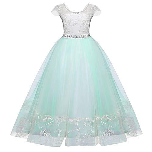Berimaterry Maedchen Prinzessin Kleid Hochzeits Festzug Partyskleid Spitze Tüll Brautjungfern Kleider Blumenmädchen Kleid Lange Abendkleid