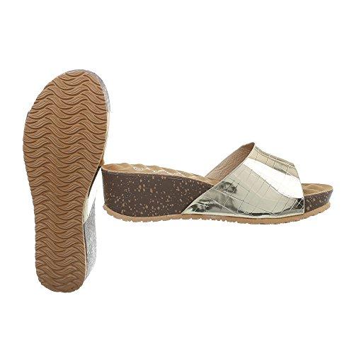 Ital-Design Pantoletten Damen-Schuhe Keilabsatz/Wedge Keilabsatz Sandalen Sandaletten Schwarz, Gr 37, A-93-