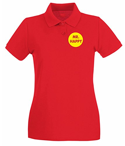 Cotton Island - Polo pour femme TR0101 Mr Happy 25mm 1 Pin Badge Button Mr Men Stag Do Party Rouge