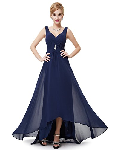 Ever Pretty Double V-neck Rhinestones Ruched Bust High Low Evening Dress 09983