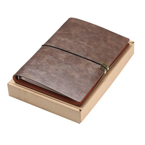 Diario de Escritura de Cuero A5 Viajeros Recargables Cuaderno Cuaderno Diario Cuaderno de Bocetos Vintage Navidad Regalos de San Valentín Cumpleaños de Bodas Regalos de Jubilación (Marrón Oscuro)
