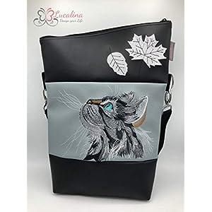 Handtasche Katze mit Blättern Tasche Foldover Schultertasche