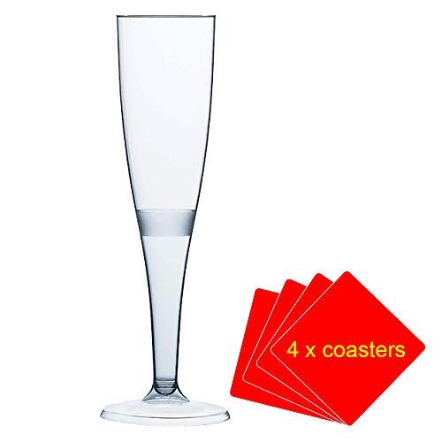 30 x de haute qualité une pièce Flûte à champagne en plastique/verre – 160 ml (6oz). Idéal pour les pique-niques, camping et glamping, festivals, piscine, barbecue, en extérieur, jardin et Occasions spéciales. Offre Lot de 30 verres avec 4 x AIOS boissons Tapis en boîte.