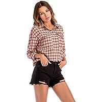Las mujeres raglán de la solapa mangas la camisa a cuadros de botón de la manera de bolsillo Tops flojos OL Casual camisa de fondo Eu tamaño S-xxl ( Color : Black , tamaño : SG )