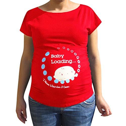 Amphia - Frauen schwanger süßes Baby gedruckt Plus Größe lustiges T-Shirt Mutterschaft Dame Tops - Schwangere Frauen Rundhals niedlichen Baby Brief drucken T-Shirt Schwangere Frauen Tops