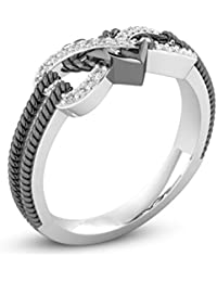 Heart Jewelry Rings Fashion Crystal Engagement Ring Wedding Ring For Women - Size 6 (Black And Silver)