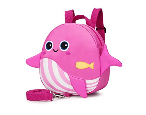 OMALOO Kinderrucksack, Animal Kinder Rucksack Baby Kleinkind Rucksack with Sicherheits-Zügel-Leine-Gurt für 1-3 Jahre Jungen und Mädchen (Rosa)