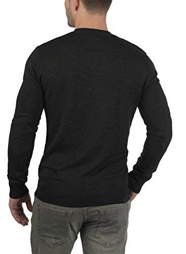 BLEND Lasse Herren Strickpullover Feinstrick Pulli mit V-Ausschnitt aus hochwertiger Baumwollmischung Meliert Black (70155)