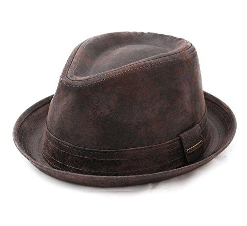 Stetson - Chapeau Trilby Cuir imperméable - 2 Coloris - Homme Radcliff - Taille M - Marron