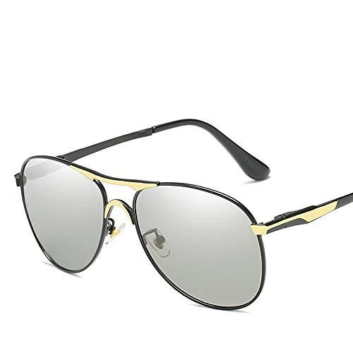 ZUEN Farbwechselnde Sonnenbrille Polarisierter, blendfreier UV400-Spiegel Männliche und weibliche Modelle für Metall Å Yang-Spiegel zur Verringerung der Ermüdung der Augen,Black