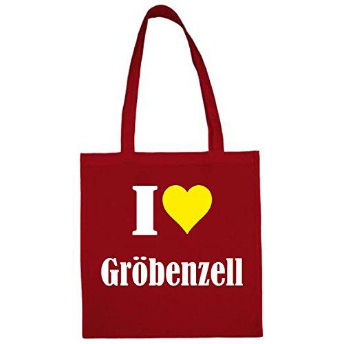 """Tasche""""I Love Gröbenzell""""Größe""""38x42""""Farbe""""Rot""""Druck""""Weiss"""