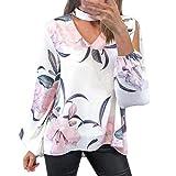 Yazidan Bluse Frauen Mode Damen Blumendruck Langarm T-Shirt Unregelmäßig Oberteile Sexy V-Ausschnitt Hemd Lässig Abschlag Startseite Kleidung Lose Sweatshirt Elegant Outfits Abstand(Weiß,S)