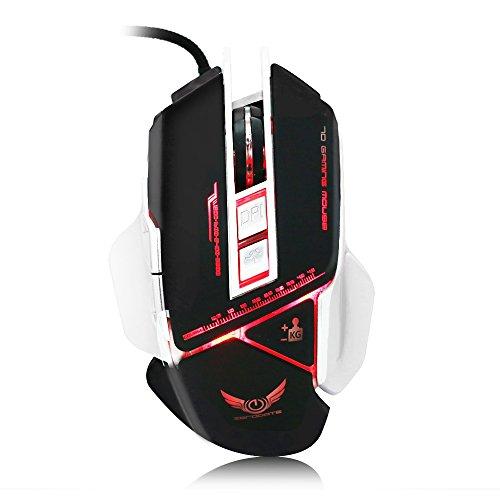 Jbl Stereo-boot (Gaming Maus, X400Lasermaus USB Wired LED-Hintergrundbeleuchtung Gaming Mäuse, professionelle für Spiel, Programmierbare 7Tasten, mechanische Makros Definieren, Gewicht Tuning Set)
