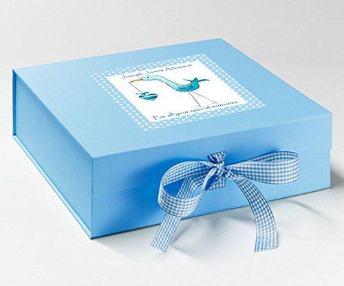 Personalisierter Box, Baby Boy Andenken Box, Storch/blau Andenken Box Andenken-box Für Jungen
