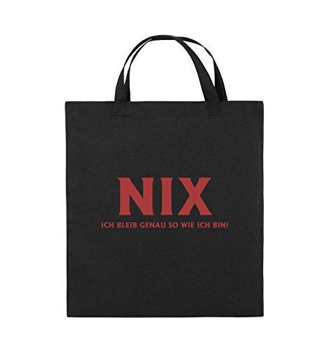 Comedy Bags - NIX ICH BLEIB GENAU SO - Jutebeutel - kurze Henkel - 38x42cm - Farbe: Schwarz / Silber Schwarz / Rot