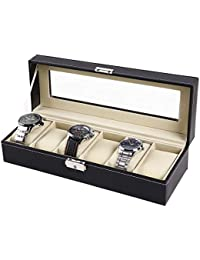 Watch Display Storage Boxes, Ohuhu Leather Watch Box Case Jewelry Display Storage with Glass Top and Removal Storage Pillows, Father's day Gift