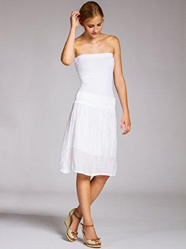 CASPAR RO002 Damen Baumwoll Seiden Rock Weiß