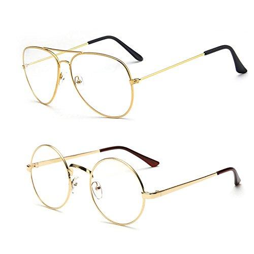Interlink Retro Runde Brille+Pilotenbrille Mit Fensterglas ohne Stärke Damen Herren Brillenfassung Gold