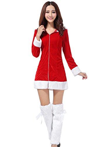 YOUJIA Damens Kapuze Weihnachts Erwachsenes Frau Weihnachtsmann Abendkleid Kostüm Mantel - Damen Kapuzen Weihnachtsmann Kostüm