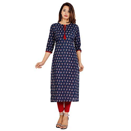Shades N Shadows Women's Cotton Kurti  SNSK501, Blue, 2X Large