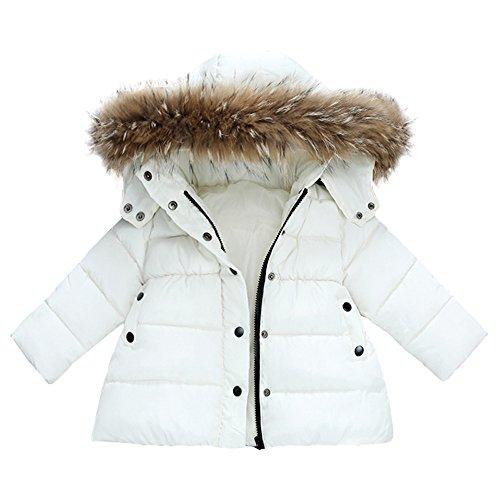 FeiliandaJJ Baby Mantel,Infant Toddler Mädchen Junge Winter Daunenjacke Kapuzenjacke Outwear Kinder Pelzkragen mit Reißverschluss Coat Warme Kleidung (90 (12~18Monate), Weiß) Fell Weste Jacke Mantel