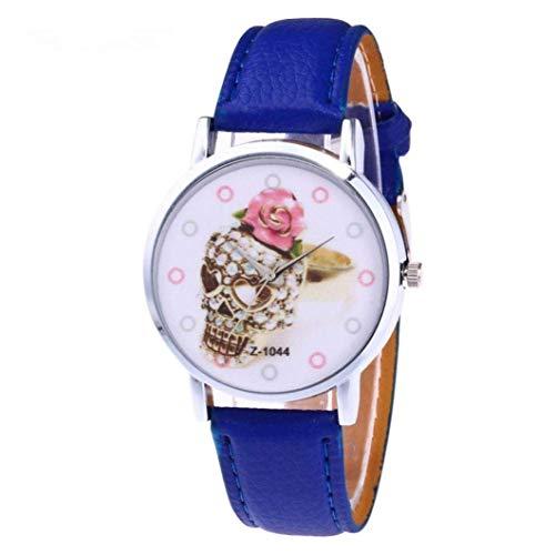 25-FANYUHONG Quarzuhr, Einzigartige Halloween Retro Business Casual Fashion Armbanduhr, Günstige Uhren mit rundem Zifferblatt, Bequemes PU-Lederband