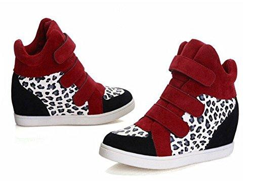 Wealsex wedges sportschuhe Damen Sneakers mit Keilabsatz High Top Sportschuh Freizeitschuhe Schnürer Rot Weiß Leopard