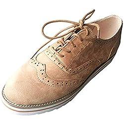 Zapatos Oxford Mujer Cuero Derby Cordones Calzado Plano Vestir Brogue Primavera Verano Casual Uniforme Trabajo Sneaker Marrón 38