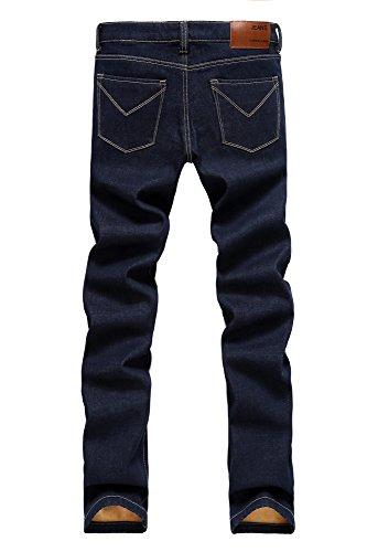 ... Menschwear Herren Jeans Warm Fleece gefütterte schlanke Passform  schweres gewicht strecken Blau Stretch ...