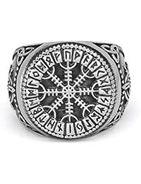 GuoShuang Nordic Viking Mjolnir Valknut Helm of awe Rune Amulett Ring Edelstahl mit Valknut Rune Geschenkbeutel