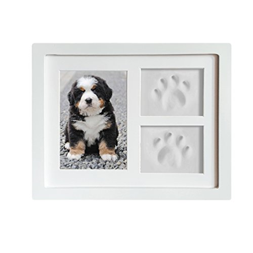 Dog or Cat Paw Prints Pet memorial Triple Photo Frame 4x6 With Clay  Impression Kit, Perfect Keepsake picture Frame for Pet Lovers White/White