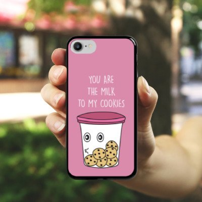 Apple iPhone X Silikon Hülle Case Schutzhülle Sprüche Cookies Statement Hard Case schwarz