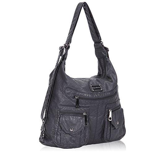 Veevan Damen Gewaschene Leder Retro UmhängetascheHobo Handtasche SchultertascheDunkelblau Grau
