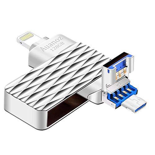 USB-Flash-Laufwerk, 128GB Speicherplatz für USB-Sticks, Suntrsi Jump Drive Memory Stick Externer Speichererweiterung Kompatibel mit iPhone Android iPad, iPod, Mac, Android und PC.(Silber-128gb)