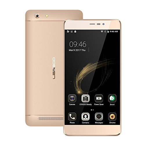 "Smartphone Libre,LEAGOO Shark5000 Telefonos Moviles Libres Android 6.0(5000mAh Batería grande,3G,Cámara de 13MP+8MP,MT6580A,5.5"" 1080*720 Pantalla HD)-Dorado"