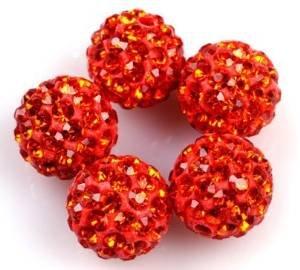 Superbe Perle 5pièces 10mm Boule disco strass en cristal, style Shamballa à perles, orange