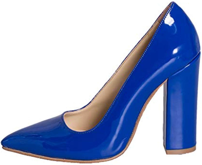 Scarpe Scarpe Scarpe scarpa decolte IN VERNICE BLU TAGLIA NUMERO 41 TACCO 10 CM MADE IN ITALY STUDIO CREAZIONI EVB-03 | Elevata Sicurezza  e753db