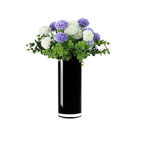 CYS® Zylinder Glas Vase (schwarz) (1pc), glas, schwarz, H-9