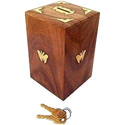 IndiaBigShop Regalo del día del padre Artesanales Hucha de madera Segura Hucha para Niñas y Niños 12,5 X 10 X 15 cm, la Plaza Estilo