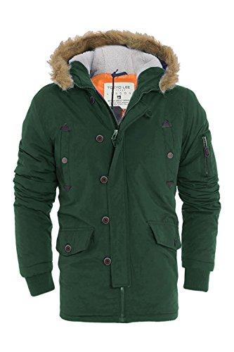 Da uomo Tokyo Lee Parka imbottito Parker Giacca Invernale in Finta Pelliccia Con Cappuccio Cappotto Olive Green XL