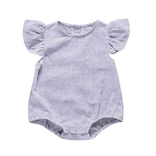 Hanomes Baby Mädchen Solid Kleinkind Spielanzug mit Knopf Sommer Ärmellos Rüschen Strampler Spielanzug Rundhals Neugeborenes Kleidung(6Monate-24Monate)