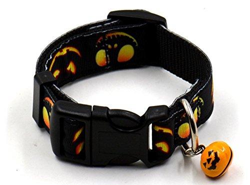 , fmji Pet Geschenke Verstellbar Nylon Pet Halsbänder mit Kleinen Glöckchen für Halloween/Festival/Party, Black Pumpkin Lamp, Large ()
