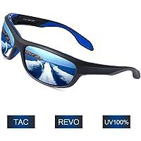 Elegear Gafas de Sol Polarizadas Unisex 2018 Gafas Anti Rayos UVA UV Marco TR90 Lente Espejo con REVO Anti Aceite Gafas Hombre y Mujer Ciclismo Running Coche MTB Moto Montaña Esquí Golf- Gafas Azules