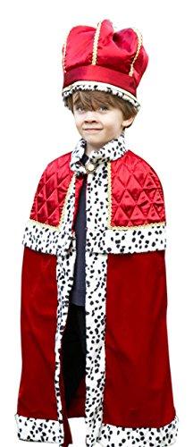 erdbeerloft - Jungen Karneval Komplett Kostüm König mit Krone , Mehrfarbig, Größe 134-146, 9-11 (Kostüme Gruppe Disney Prinzessin)