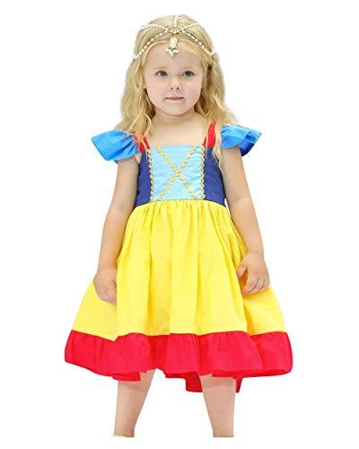 Kostüm Festival Fantasy Parade Of - Le SSara Baby Mädchen Prinzessin Schneewittchen Kostüm Fancy Fee Dressing Up Cosplay Kleid mit Kopfbedeckungen (110, D48-Yellow)