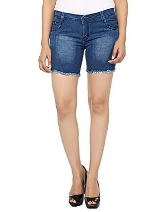 Ico Blue Stor Blue denim Shorts for Women (32)