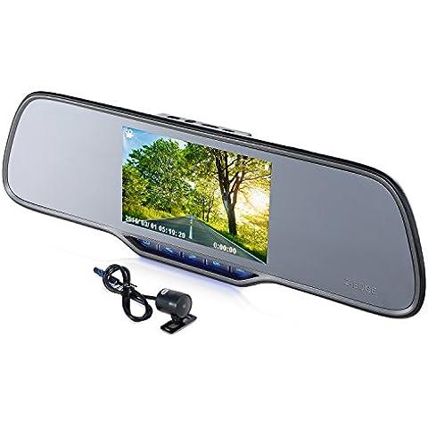Dash Cam, z-edge Z2Plus Super HD Dual Lens auto fotocamera, 1296P Full HD 1080P auto registratore dvr, Specchietto retrovisore, Videocamera per veicoli vista anteriore e posteriore, con schermo da 5pollici e 150° angolo di visione